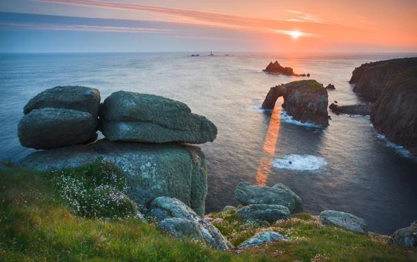 Фото обои море, небо, вода, солнце, лучи, свет, природа