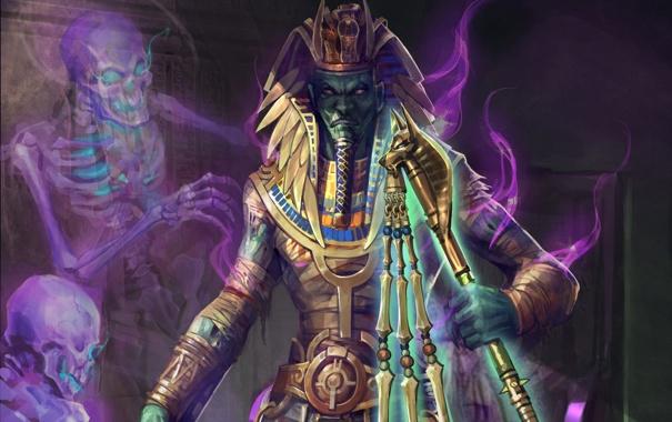 Фото обои бог, дух, арт, жезл, скелеты, Osiris