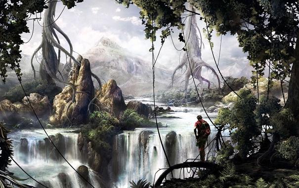 Фото обои деревья, корни, река, скалы, человек, водопад, джунгли