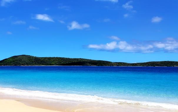 Фото обои море, берег, остров, солнечно