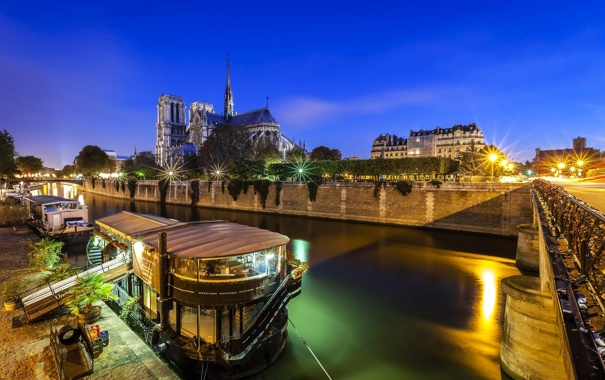 Фото обои дорога, мост, город, огни, река, Франция, Париж