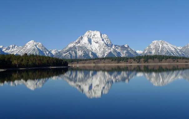 Фото обои пейзаж, горы, природа, озеро, отражение, National park, Grand teton