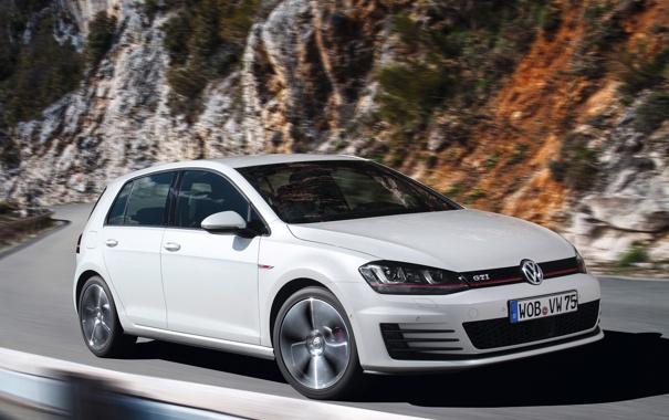 Фото обои белый, Volkswagen, автомобиль, гольф, Golf, GTI, фольксваген