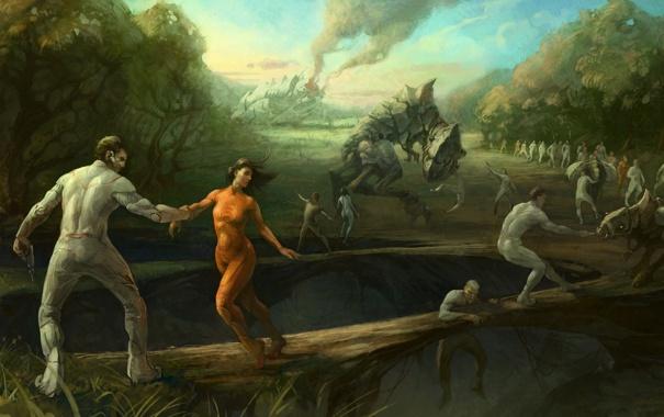 Фото обои животные, мост, звери, люди, корабль, крушение, арт