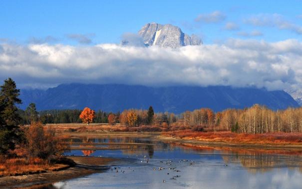 Фото обои осень, лес, небо, облака, озеро, гора