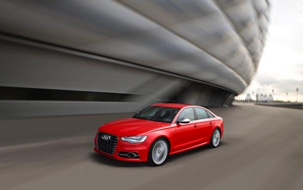 Фото обои Audi, Красный, Авто, Ауди, Седан, Передок, В Движении