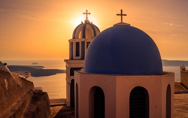 Фото обои море, закат, город, вид, Санторини, Греция, церковь