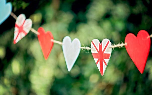 Фото обои зелень, фокус, сердца, веревка, размытость, сердечки, боке