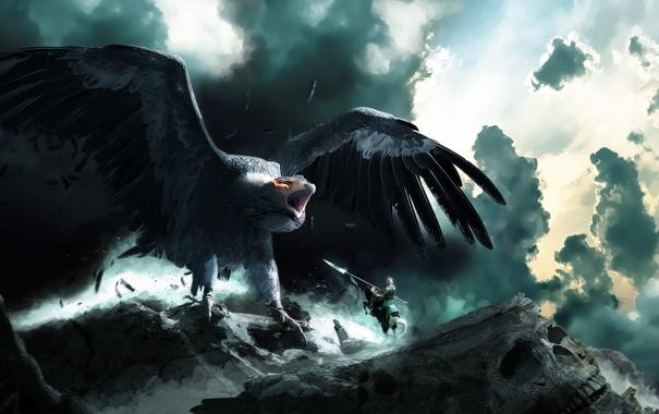 Фото обои глаза, горы, конь, птица, череп, арт, ярость