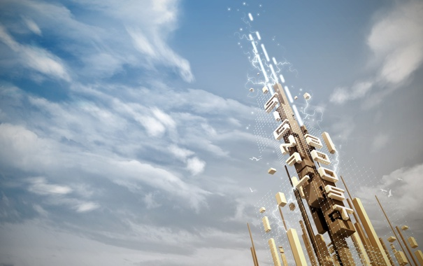 Фото обои облака, вышка, Signal Boost
