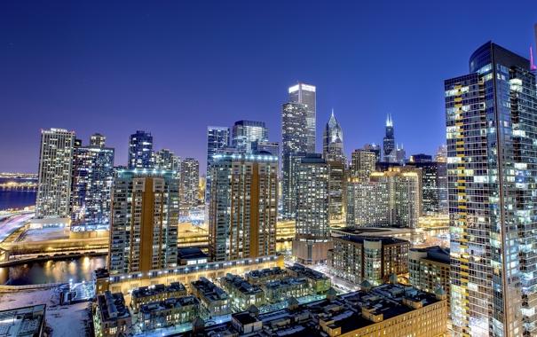 Фото обои ночной город, Chicago, небоскрёбы, Чикаго