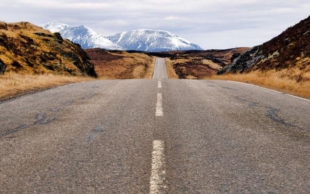 Фото обои горы, дороги, Шотландия, горизонт, Соединенное Королевство, Fasnagrianach