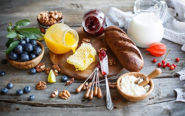 Фото обои ягоды, молоко, хлеб, орехи, натюрморт, мёд, джем