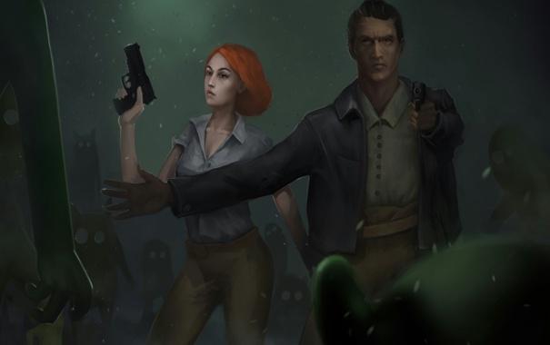 Фото обои девушка, пистолет, монстры, мужчина