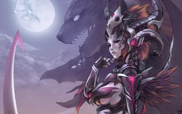 Фото обои девушка, луна, рога, маг, зверь, art, шаман