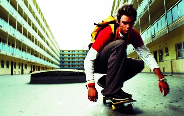 Фото обои настроение, дома, парень, скейт