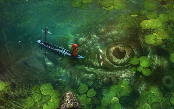 Фото обои листья, рыбы, глаз, озеро, лодка, азия, рыбалка
