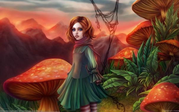 Фото обои грибы, девочка, мухоморы, Gracjana Zielinska