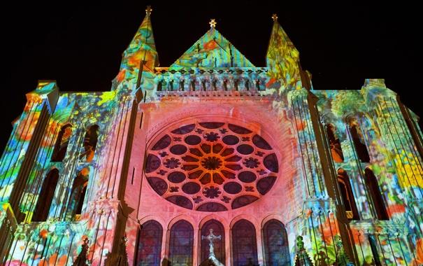 Фото обои свет, цвет, церковь, собор, шоу