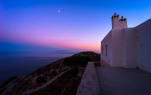 Фото обои море, небо, звезды, дом, Санторини, Греция