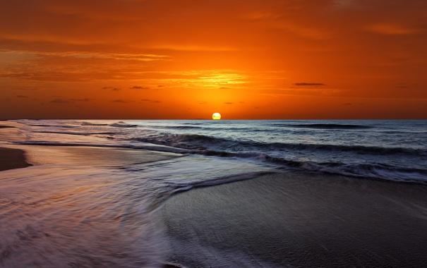 Фото обои море, волны, небо, солнце, закат