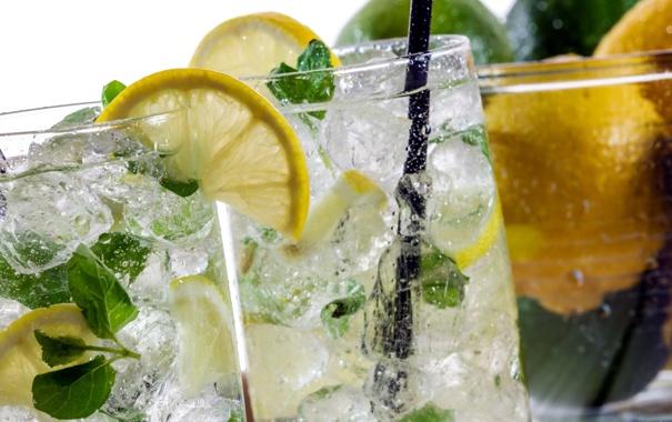 Фото обои макро, еда, Close-up on lemon drink with ice