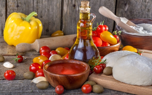 Фото обои масло, перец, помидоры, оливки, тесто