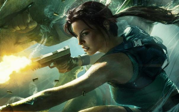 Фото обои Девушка, Пистолет, Лара Крофт, Lara Croft and the Guardian of Light