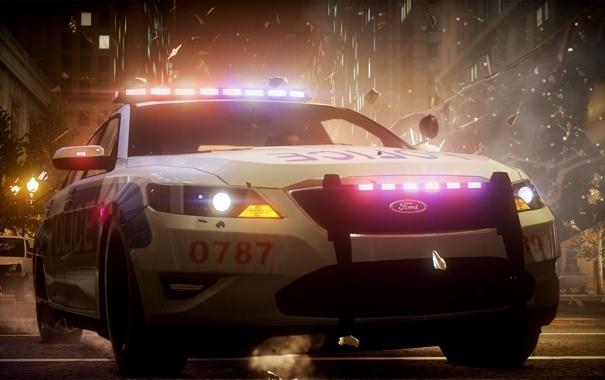 Фото обои взрыв, осколки, гонка, полиция, погоня, ford, need for speed the run