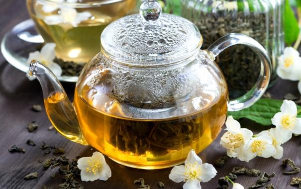 Фото обои чайник, напиток, заварник, жасмин, зеленый чай