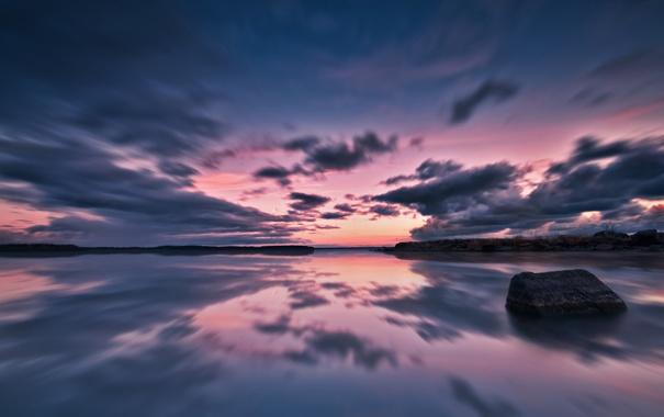 Фото обои море, небо, вода, пейзаж, природа, озеро, камни