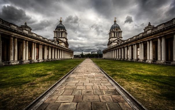 Фото обои небо, облака, тучи, здание, Англия, Лондон, дорожка