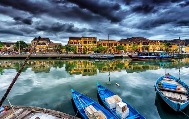 Фото обои город, дома, лодки, канал