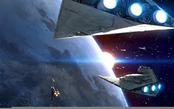 Фото обои star wars, planet, spacecraft