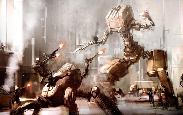 Фото обои война, улица, дома, роботы, солдаты, автомобили, перестрелка