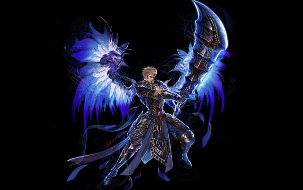 Фото обои взгляд, оружие, фон, магия, крылья, арт, парень