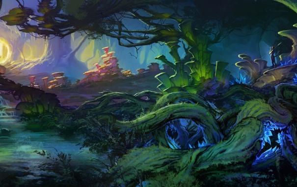 Фото обои деревья, пейзаж, корни, ручей, растения, чаща, арт