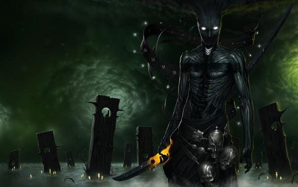 Фото обои wood, fog, candles, knife, human form, criatrura