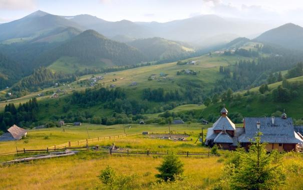 Фото обои холмы, забор, деревня