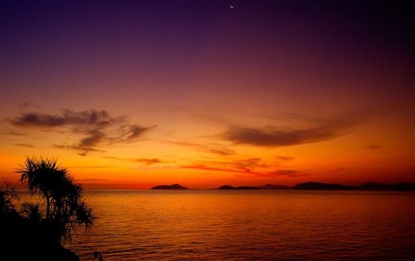 Фото обои Moonrise, Sunset, after