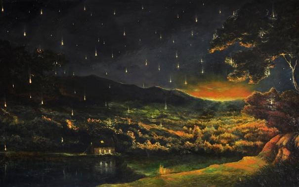 Фото обои лес, небо, звезды, пейзаж, ночь, огни, озеро
