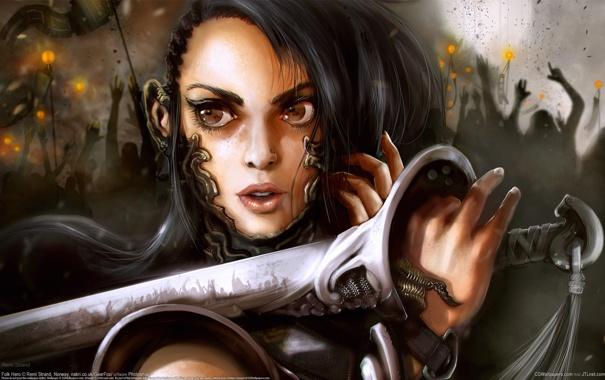 Фото обои девушка, лицо, война, меч, лезвие, битва, рукоять