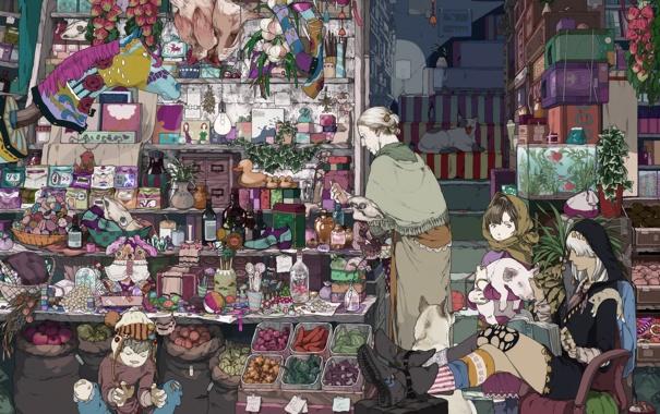 Фото обои кот, собака, аниме, мальчик, девочка, лавка, колдунья