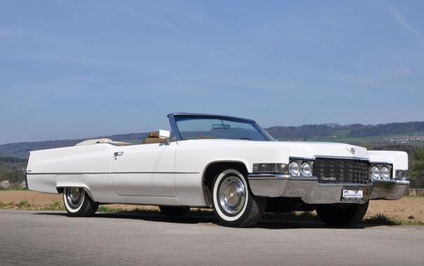 Фото обои белый, небо, Cadillac, 1969, кабриолет, передок, Convertible