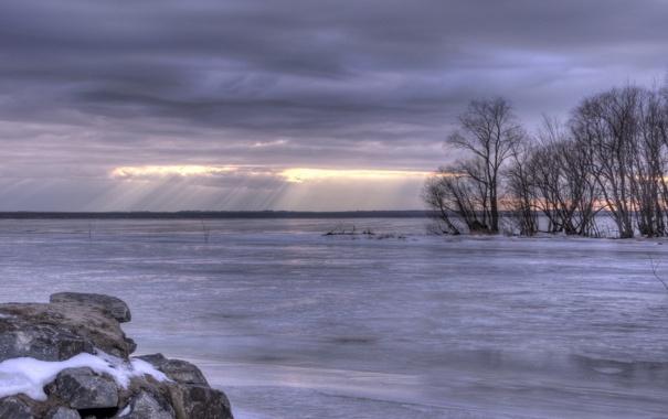Фото обои лед, снег, деревья, закат, озеро, Зима, вечер