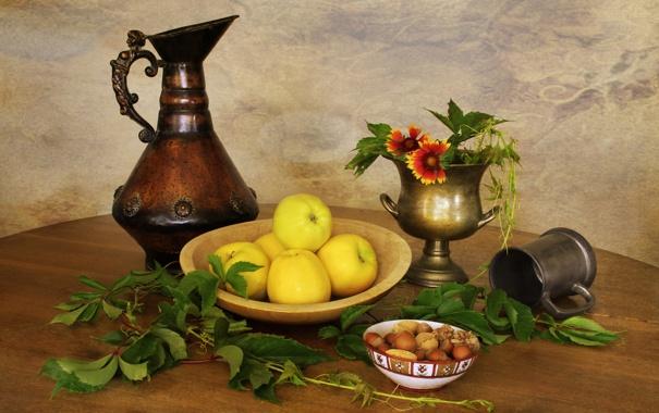 Фото обои листья, яблоки, посуда, орехи, натюрморт, leaves, nuts