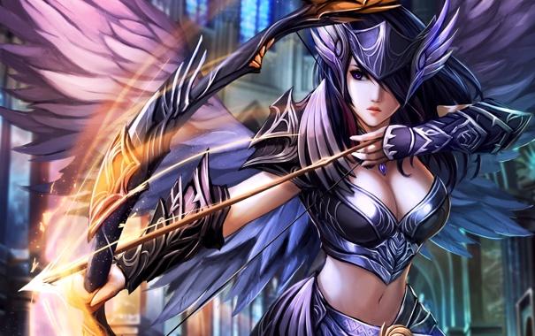 Фото обои взгляд, девушка, оружие, магия, одежда, лук, декольте