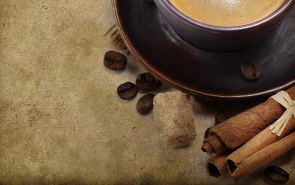 Фото обои фон, кофе, зерна, кружка, чашка, сахар, корица