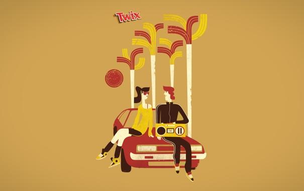 Фото обои машина, шоколад, парочка, карамель, промо, батончик, нам 20 лет