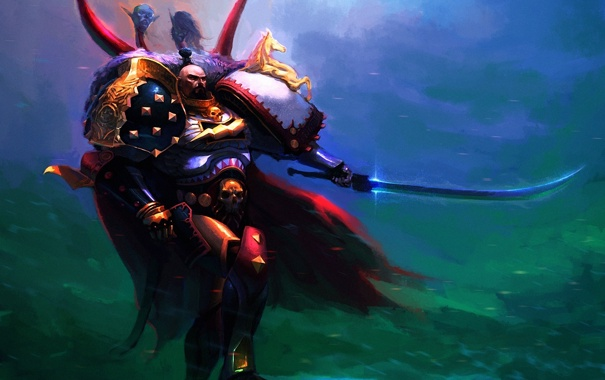 Фото обои камень, лошадь, череп, меч, воин, арт, мужчина